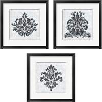 Framed Textured Damask on White 3 Piece Framed Art Print Set