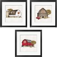Framed Fall Barn Quilt 3 Piece Framed Art Print Set