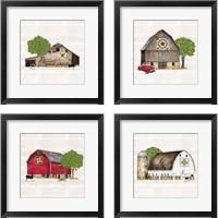 Framed Spring & Summer Barn Quilt 4 Piece Framed Art Print Set