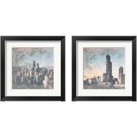Framed Chicago Skyline 2 Piece Framed Art Print Set