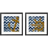 Framed Nautical Chevron 2 Piece Framed Art Print Set
