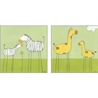Framed Children's Stick-Leg Safari 2 Piece Art Print Set