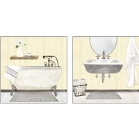 Framed Farmhouse Bath II Gray & Yellow 2 Piece Art Print Set