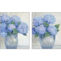 Framed Blue Hydrangeas in Vase 2 Piece Art Print Set
