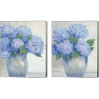 Framed Blue Hydrangeas in Vase 2 Piece Canvas Print Set