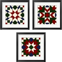 Framed Christmas Barn Quilt 3 Piece Framed Art Print Set