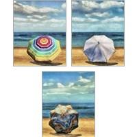 Framed Beach Umbrella 3 Piece Art Print Set