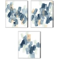 Framed Indigo Facets 3 Piece Canvas Print Set
