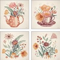 Framed Cottage Botanical 4 Piece Art Print Set