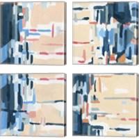 Framed Summer Abstraction 4 Piece Canvas Print Set