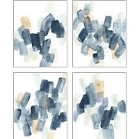 Framed Indigo Facets 4 Piece Art Print Set