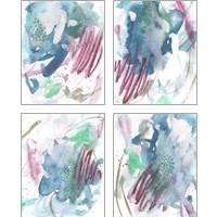 Framed Magenta Wave Form 4 Piece Art Print Set