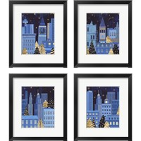 Framed Holiday Night 4 Piece Framed Art Print Set