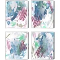 Framed Magenta Wave Form 4 Piece Canvas Print Set