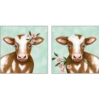 Framed Farmhouse Cow 2 Piece Art Print Set