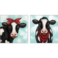 Framed Cow Boy & Girl 2 Piece Art Print Set