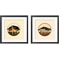 Framed Elephants & Giraffes 2 Piece Framed Art Print Set