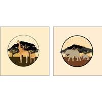 Framed Elephants & Giraffes 2 Piece Art Print Set