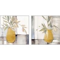 Framed Golden Afternoon Bamboo Leaves 2 Piece Art Print Set