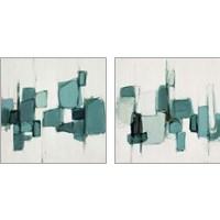 Framed Teal Cityside 2 Piece Art Print Set