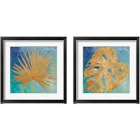 Framed Teal Gold Leaf Palm 2 Piece Framed Art Print Set