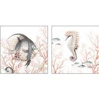 Framed Sea Life on Coral 2 Piece Art Print Set