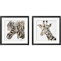 Framed Speckled Gold Giraffe & Zebra 2 Piece Framed Art Print Set