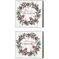 Framed Christmas Wreath 2 Piece Canvas Print Set