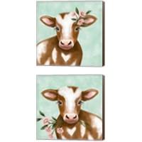 Framed Farmhouse Cow 2 Piece Canvas Print Set