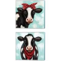 Framed Cow Boy & Girl 2 Piece Canvas Print Set