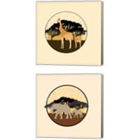 Framed Elephants & Giraffes 2 Piece Canvas Print Set