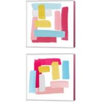 Framed Peacock Pinks 2 Piece Canvas Print Set
