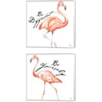 Framed Be Different Flamingo 2 Piece Canvas Print Set