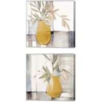 Framed Golden Afternoon Bamboo Leaves 2 Piece Canvas Print Set