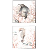 Framed Sea Life on Coral 2 Piece Canvas Print Set