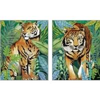 Framed Tiger In The Jungle 2 Piece Art Print Set