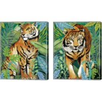Framed Tiger In The Jungle 2 Piece Canvas Print Set