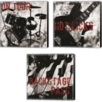 Framed Grunge Music 3 Piece Canvas Print Set