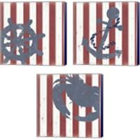 Framed American Coastal 3 Piece Canvas Print Set