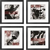 Framed Grunge Music 4 Piece Framed Art Print Set