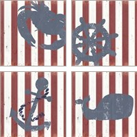 Framed American Coastal 4 Piece Art Print Set
