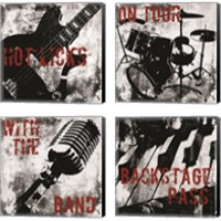 Framed Grunge Music 4 Piece Canvas Print Set