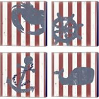 Framed American Coastal 4 Piece Canvas Print Set
