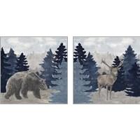 Framed Blue Cliff Mountains 2 Piece Art Print Set