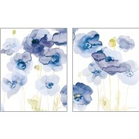 Framed Delicate Poppies Blue 2 Piece Art Print Set