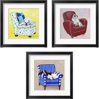 Framed Bulldog on Polka Dots 3 Piece Framed Art Print Set