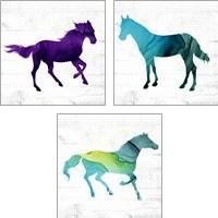Framed Horse  3 Piece Art Print Set