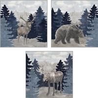 Framed Blue Cliff Mountains 3 Piece Art Print Set