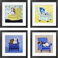 Framed Beagle on Yellow 4 Piece Framed Art Print Set