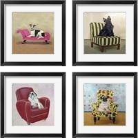 Framed Bulldog on Red 4 Piece Framed Art Print Set